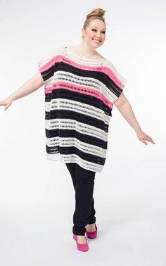 crochet stripped top/tunic pattern. in finnish. use google translate.