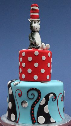 Cat in the Hat Cake... Not the top bit... And bigger multi sized dots on the center... But the bottom layer I like :)