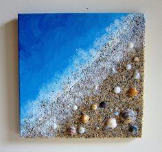 Items similar to Beach Painting Ocean Decor with Real Sand and Seashells Art - Coastal Home Decor Textured Art - Mixed Media Canvas Art - Beach Wall Art on Etsy Seashell Painting, Seashell Art, Seashell Crafts, Diy Painting, Beach Themed Crafts, Beach Crafts, Kids Crafts, Diy Art Projects, Sea Art
