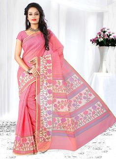 It�s a master piece in its class glorifying your timeless beauty. Get the simplicity and grace with this mystic pink cotton   casual saree. The brilliant attire creates a dramatic canvas with amazing patch border work. Comes with matching blouse.