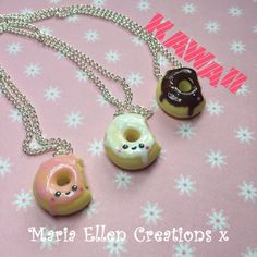 Kawaii Donut necklace fake food miniature by MariaEllenCreations