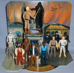 "Reproduction of vintage Kenner Star Wars ""Cloud City Playset"" Displayed with my various vintage Kenner Bespin figures Star Wars Boba Fett, Star Wars Clone Wars, Star Wars Art, Star Trek, Retro Toys, Vintage Toys, Cloud City, Star Wars Action Figures, Star Wars Toys"