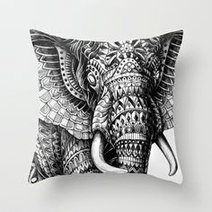 Ornate Elephant v.2 Throw Pillow by BioWorkZ - $20.00  This would be easy with fabric and fabric printing sheets