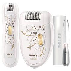 Philips HP6540/00 - Set con depiladora eléctrica de dos velocidades, depiladora eléctrica de precisión y pinzas con luz: