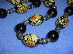 Black Floral Painted Vintage Necklace by plarnstar on Etsy, $21.00