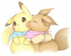 Pikachu & Eevee love and kisses!