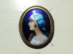 French Vintage Limoges Brooch/ Vintage Signed Brooch By Limoges/Vintage Brooch/Enamel on Copper Hand Painted Brooch/Gypsy Lady Brooch by SouvenirsdeVoyages on Etsy