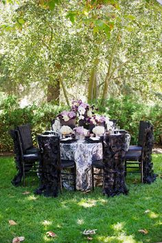 Purple and black tablescape
