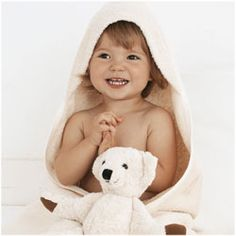 Soft organic cotton baby hooded towel