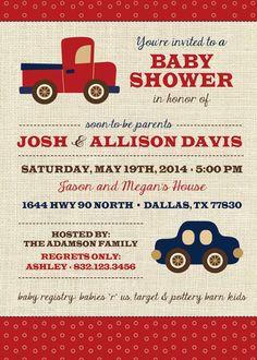 Boy Baby Shower Invitation, Vintage Toys, Transportation, Truck, Car, Red, Blue (PRINTABLE FILE)