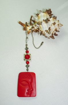 One of a Kind  Red Buddha  Ceiling Fan Pull  by EarthDreamsbySunLi
