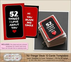 52 things I love about you - with free printable inserts - made from deck of playing cards