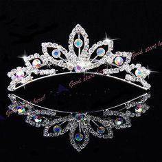 Color diamond Elegant Pearl Rhinestone inlay Crown Tiara Hair Comb new
