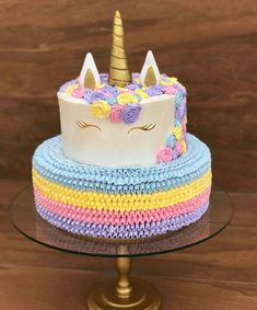 Festa Unicórnio: mais de 30 lindas ideias – Inspire sua Festa ® My Birthday Cake, Unicorn Birthday Parties, Unicorn Party, Unicorn Cakes, Party Treats, Party Cakes, Bolo Fake Eva, Simple Birthday Decorations, Love Cake