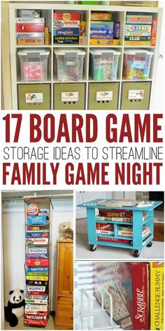 Streamline family game night with these 17 brilliant board game storage ideas. Never lose a game piece again! Board Game Organization, Board Game Storage, Organization Hacks, Toy Closet Organization, Video Game Storage, Diy Storage, Storage Boxes, Storage Ideas, Storage Room