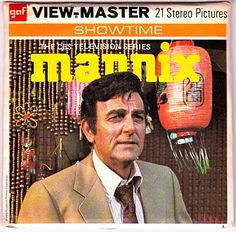 As a Hollywood reporter once upon a time, I covered some awards banquet and landed a place at a B-list, if not a C-list, if not a long-before-Kathy-Griffin D-list table. I cared not because I was seated right next to Mike Connors, the Botany 500-draped P.I. whose series Mannix opened with a split-screen credits sequence (under a Lalo Schifrin score) that that always wowed me. Mr. Connors turns 85 in August.  To look at a related post, visit: Selections From My Collection of View-Master Reels