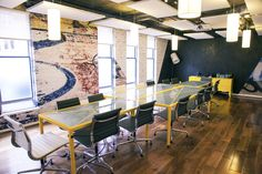 Office Design - Boardroom - Meeting Room - Vescom Wallcovering - Xlight Porcelanosa - Bespoke Table - Yellow - Brick - Large Format Tile - Yellow - Rothco Advertising Agency, Dublin by Think Contemporary