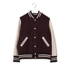 Marc Jacobs Shrunken Varsity Jacket (£395) ❤ liked on Polyvore featuring outerwear, jackets, purple letterman jacket, logo jackets, varsity style jacket, wool letterman jackets and purple jacket