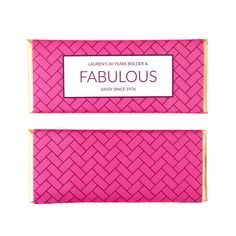Herringbone Personalized Candy Bar Wrapper from Sweet Paper Shop | Choose your words and colors | Overwraps a Hershey's 1.55 oz Chocolate | Printed on shimmer paper. Foils included.