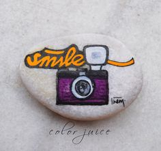 Smile Retro Camera  Painted stone by ColorJuice on Etsy, $18.00