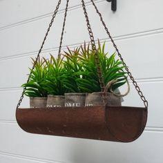 Hanging Rustic Metal Pot Plant Holder - Rectangular 49cm Hanging Height Planter