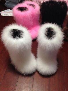 New Women Winter Long Bootleg Eskimo Hair Fluffy Boots Color Furry Ostrich Boot
