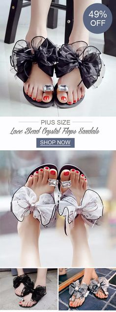 Big Size Butterflyknot Lace Bead Crystal Clip Toe Flat Flip Flops Sandals #newchicshoes #summersandals #summerstyle #2018trend