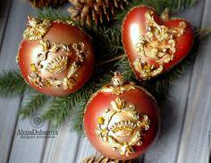 """Купить набор елочных украшений""""Красная бронза"""" - бордовый, бронза, новый год 2017, новогодний подарок"""