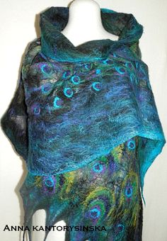 how to make a sari silk shawl | nuno felted silk scarf peacock handmade nuno felted silk scarf peacock ...