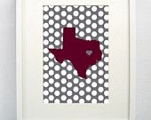 Texas A Aggies Maroon Print -  Gig 'em