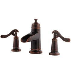 Pfister Ashfield Rustic Bronze 2-Handle Widespread WaterSense Bathroom Faucet (Drain Included)