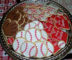 Baseball cookies for John Michael Cute Cookies, Cupcake Cookies, Sugar Cookies, Cupcakes, Baseball Stuff, Baseball Party, Sports Party, Football Favors, Baseball Cookies