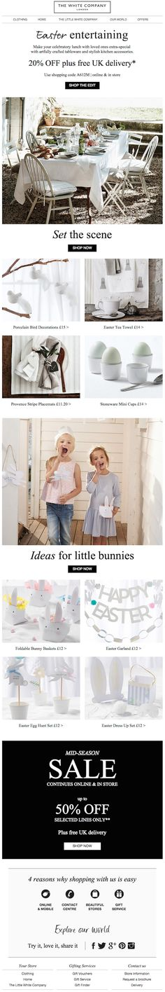 The White Company - Make Easter a family affair with 20% off dining essentials - Inspiring newsletters