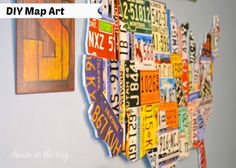 DIY Map Art made from a license plate poster and foam board