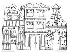 coloring page christmas village - Google Search