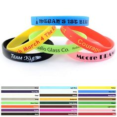 Custom 1/2-inch Printed Silicone Wristband Bracelets Item #AFN-WP (Min Qty: 100). Decorate your Promotional Silicone Bracelets with your business logo and with no setup fees.