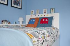 Ikea Hack children's cabin bed Handmade Pac-man Ghost cushions, Ikea duvet cover and Ikea ice lolly prints and frames. Ikea Kids Bed, Ikea Bed, Bed Sheets Online, Cheap Bed Sheets, Childrens Cabin Beds, Ikea Duvet Cover, Duvet Covers, Ikea Hack Bedroom, Bedroom Loft