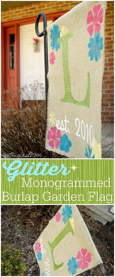 "A ""rustic glam"" burlap garden flag with glitter heat transfer vinyl! A great DIY addition to your garden."