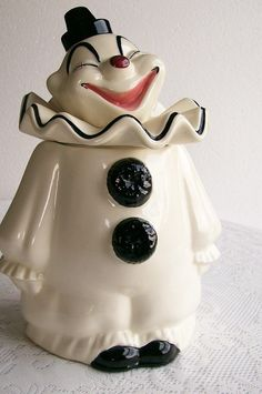 black and white clown cookie jar