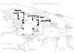 The plan of Fallingwater at Bear Run, PA by Frank Lloyd Wright...