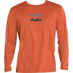 Billabong Unisex Chronicle Long Sleeve Surf Tee ($35) ❤ liked on Polyvore featuring men's fashion, men's clothing, men's shirts, men's t-shirts, dark red, men, mens rash guard shirt, mens long sleeve t shirts, mens slim t shirts and mens longsleeve shirts