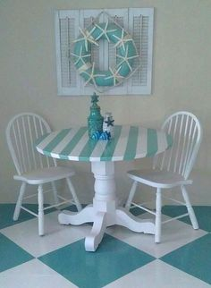 I like the floor, not so sure about the striped table. New and Easy to Do Coastal Kitchen