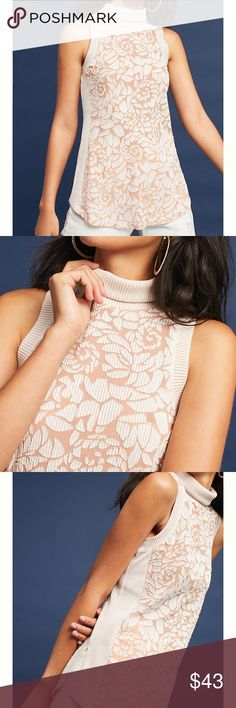 """NWT Anthropologie Ribbed Turtle Neck Tank Size M Cotton, polyester Ribbed trim detail Pullover styling 27.5""""L Anthropologie Tops"""