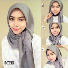 This hijab style can be worn for any special occasion or event, it looks glamour. This hijab style can be worn for any special occasion or event, it looks glamourous especially usin Square Hijab Tutorial, Simple Hijab Tutorial, Hijab Simple, Hijab Style Tutorial, Scarf Tutorial, Tutorial Hijab Segi 4, Hijab Styles, Scarf Styles, Stylish Hijab