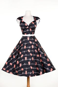 22a18dc866b62 Curve Hugging 1950 s Style Swing Dress in TIpsy Elephant Print Stretch  Sateen