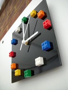 Are your kids fans of Lego? Well, i think not only your kids who love to play Lego but you and other adults may also love to play with it. However, do ever think to use Lego in your home interior d… Diy Clock, Clock Decor, Diy Wall Decor, Diy Home Decor, Clock Ideas, Clock Wall, Diy Wall Clocks, Lego Room Decor, Lego Theme Bedroom