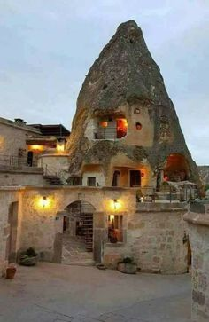 Stone house in Cappadocia, Turkey. Wonderful Places, Beautiful Places, Turkey Places, Cappadocia Turkey, House On The Rock, Turkey Travel, Dream Vacations, Wonders Of The World, Paisajes