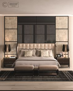 Cipriani Homood x Denino Furniture fantastic bedroom interior design with luxury furniture. Bed upholsered in leather, feature wall panels onyx imitation, brass detailed table lamps, dark oak bedside tables, woollen rug and light oak wooden floor.