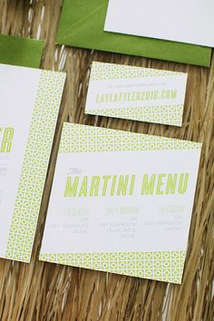mid century modern wedding invitation in shades of green - martini menu - Palm Springs Inspiration  - Bellwether Events Washington DC Wedding Planner