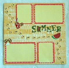 scrapbook pages summer | Summer Picnic Premade Scrapbook Page by CarolinaCraftShoppe